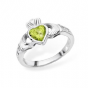 Sterling silver rubover set peridot cubic zirconia claddagh ring